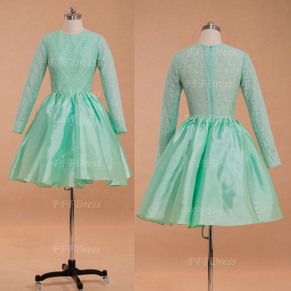 Modest mint green short prom dress long sleeves homecoming dresses