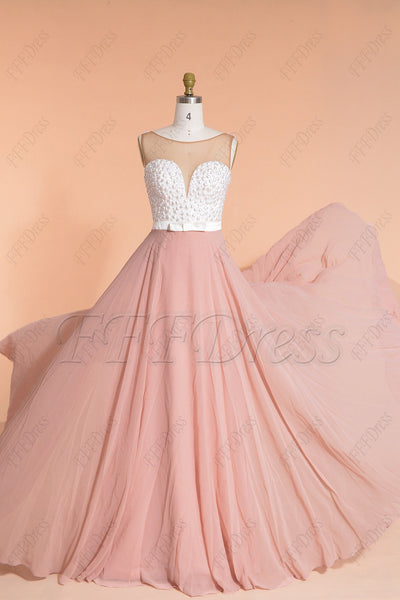 Pearls Beaded Dusty Rose Prom Dresses Long