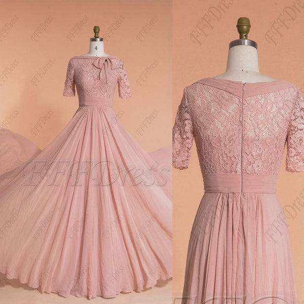 Dusty rose modest lace bridesmaid dresses elbow sleeves