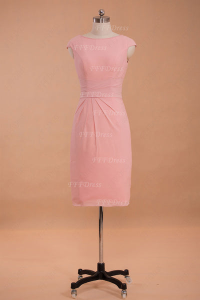 Pink modest bridesmaid dresses cap sleeves knee length