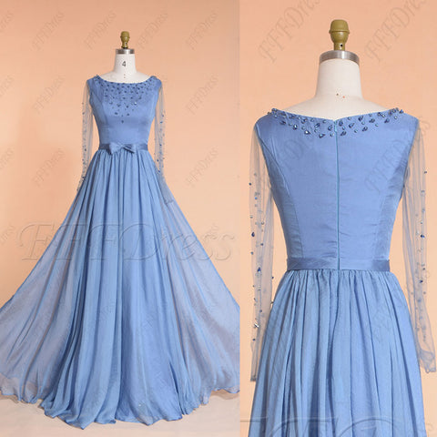 Windsor blue modest beaded prom dresses long sleeves