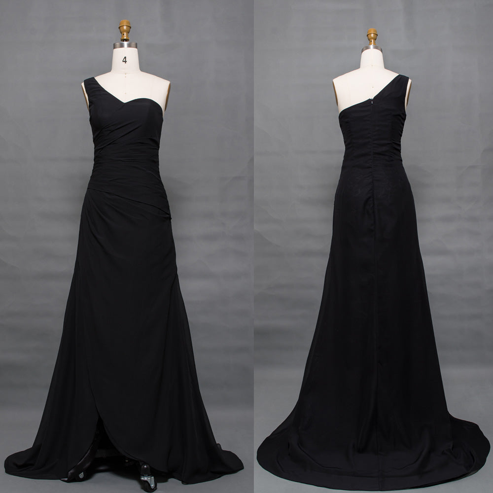 One shoulder black formal evening dresses long