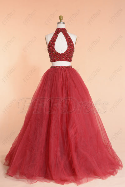Burgundy Beaded Long Prom Dresses 2piece