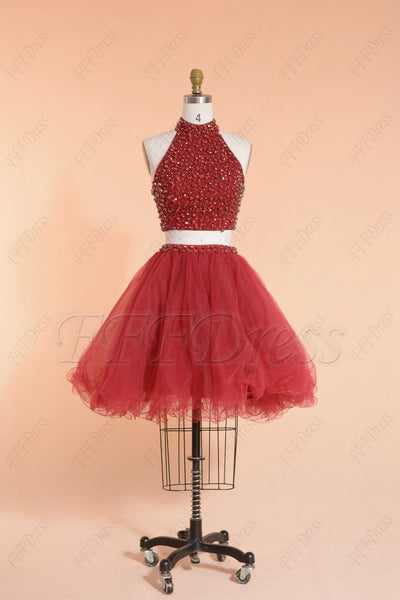 Beaded two piece burgundy prom dresses short hoco dress