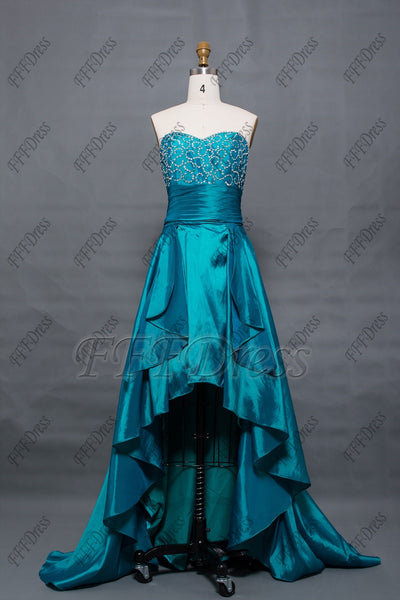 Teal beaded high low prom dresses homecoming dress