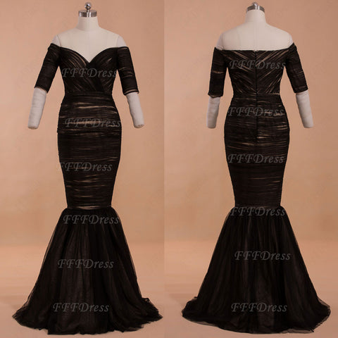 Vintage off the shoulder black mermaid prom dress with sleeves