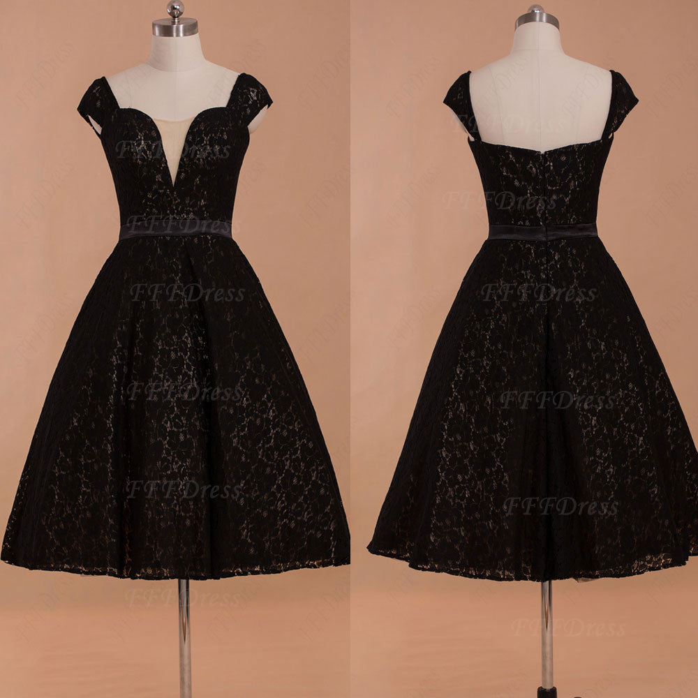 Black lace vintage little black dresses homecoming dress