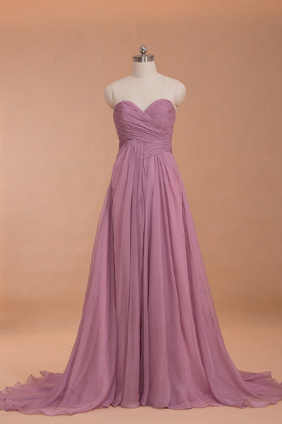 Purpish pink Chiffon long prom dresses with train