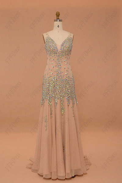Mermaid crystal sparkly prom dresses V Neck champange pageant dresses