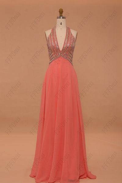 Crystal sparkly coral backless prom dresses pageant dresses