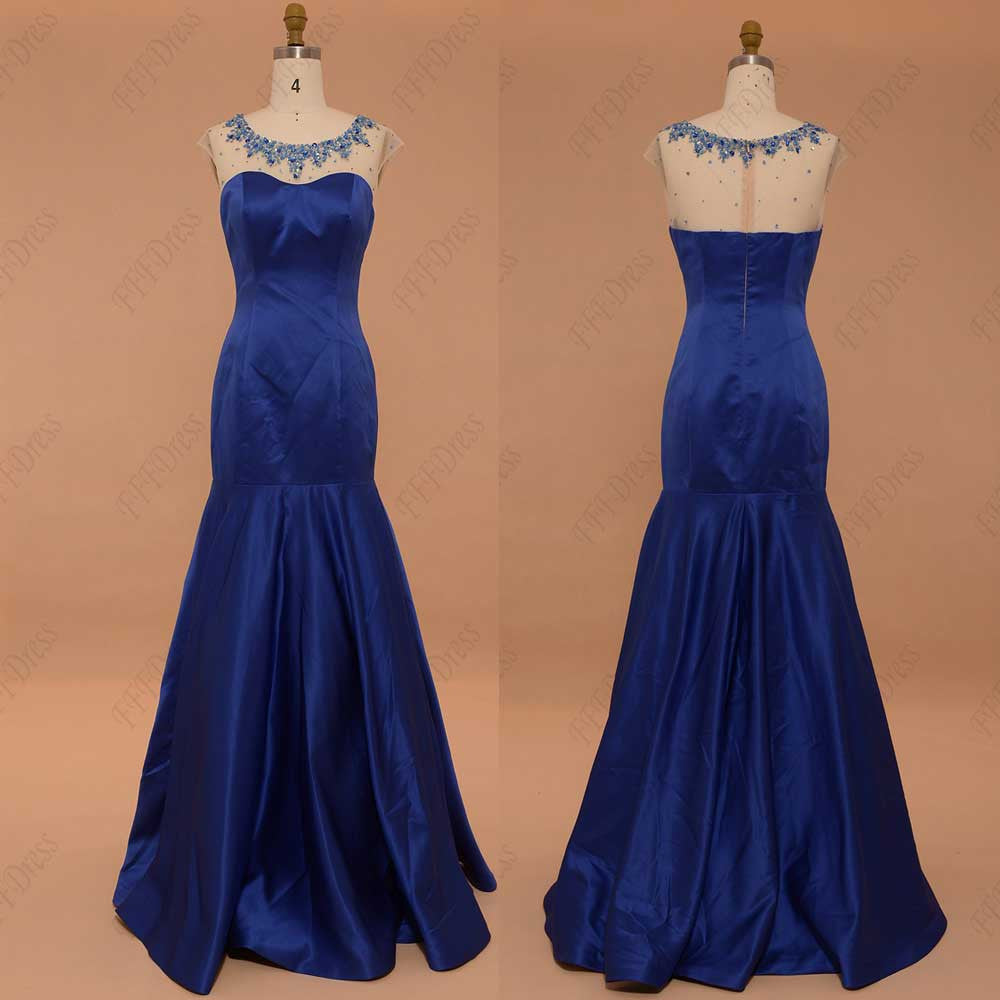 Royal blue mermaid prom dresses beaded pageant dresses