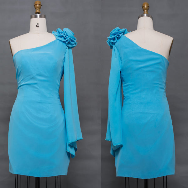 One shoulder Aqua blue cocktail dresses short dress