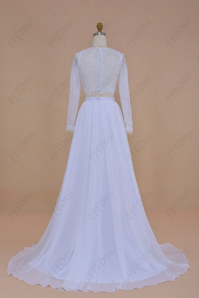 Two piece boho wedding dresses chiffon beach wedding dresses