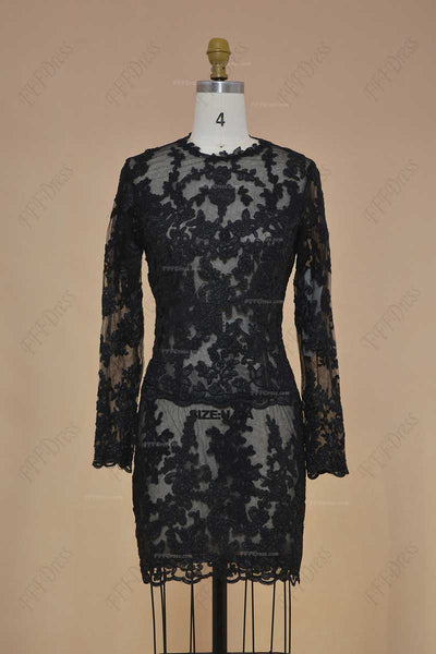 Black lace short prom dresses long sleeves two piece prom dresses