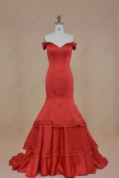 Off the Shoulder Red Mermaid Tiered Prom Dress Long