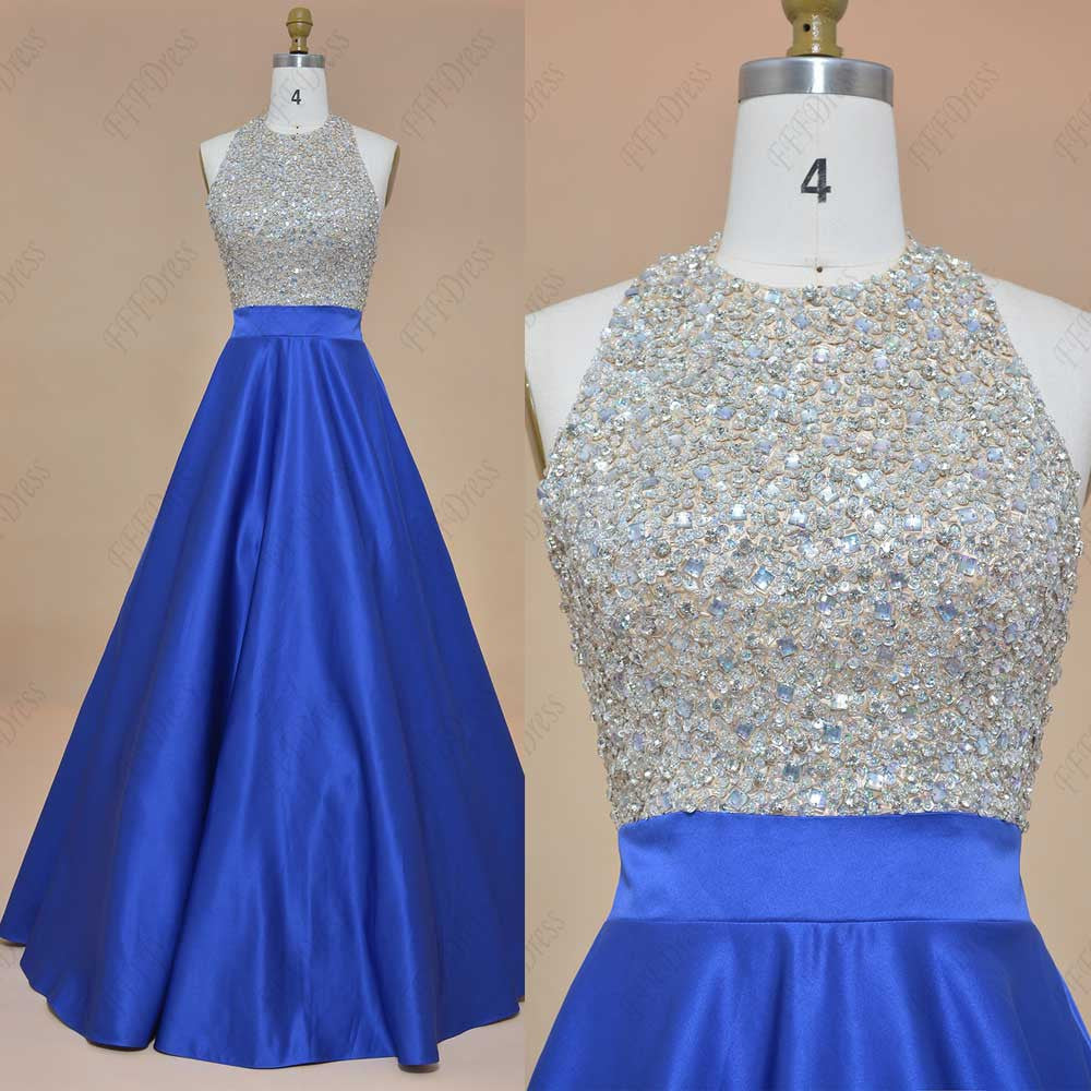 Halter crystals beaded sparkly prom dresses royal blue backless pageant dresses
