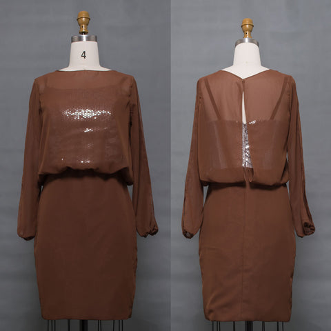 Modest brown long sleeves mother of the bride dress knee length