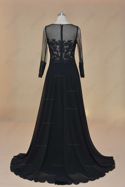 See through black lace prom dress long sleeves evening dress with slit