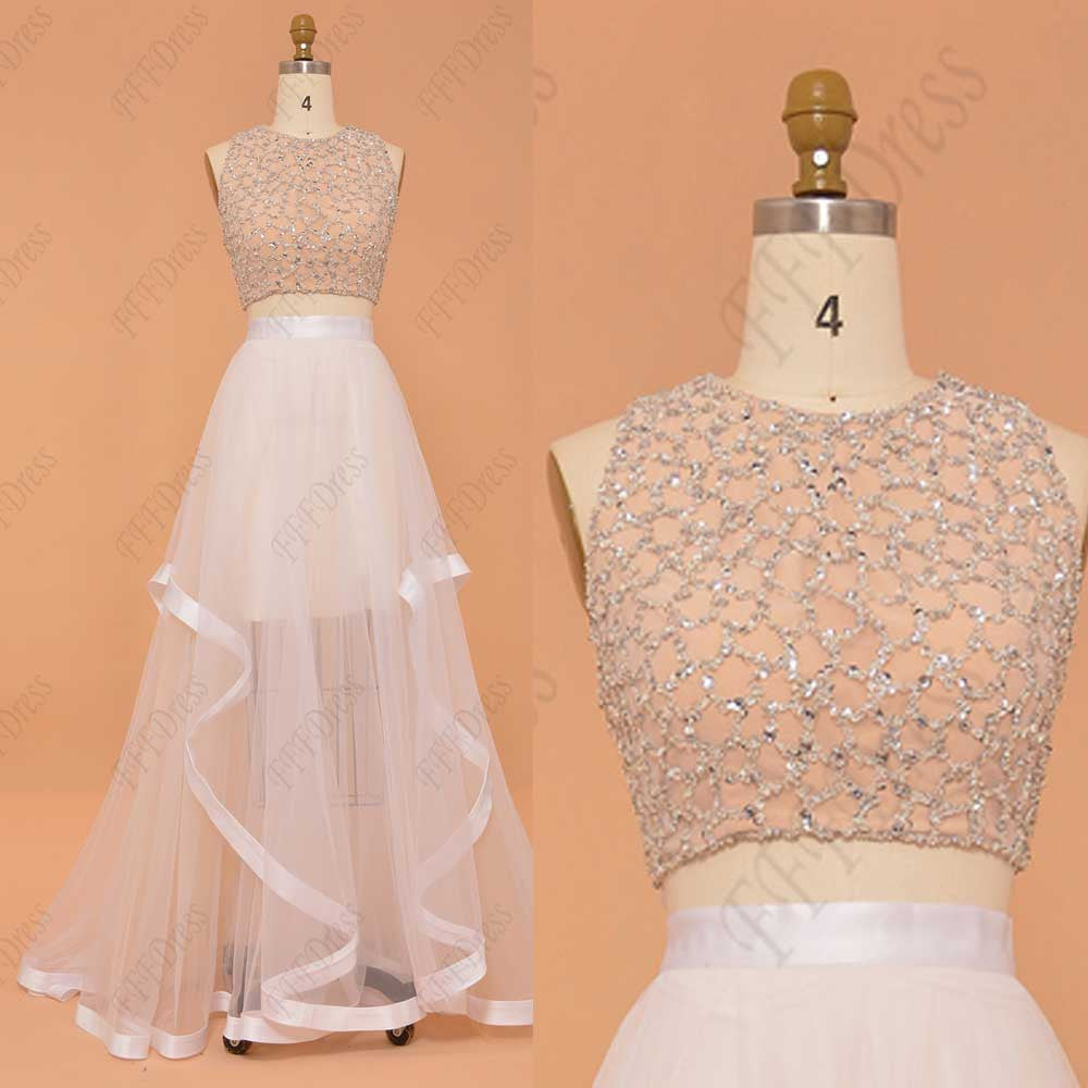 Sparkly beaded champagne two piece prom dresses long pageant dresses
