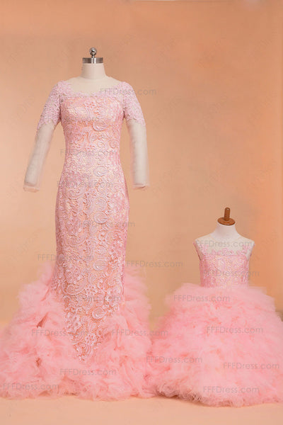 Pink mother and daughter dress flower girl dresses