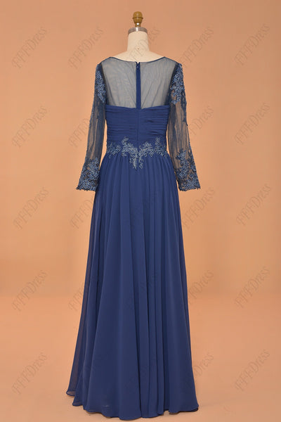 Plus size blue mother of the bride dress with sleeves