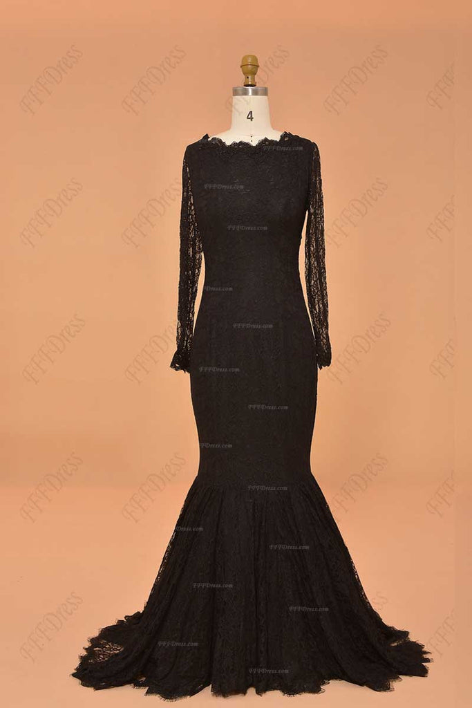 7cdec3afb ... Black Lace mermaid backless prom dresses long sleeves evening dresses  ...