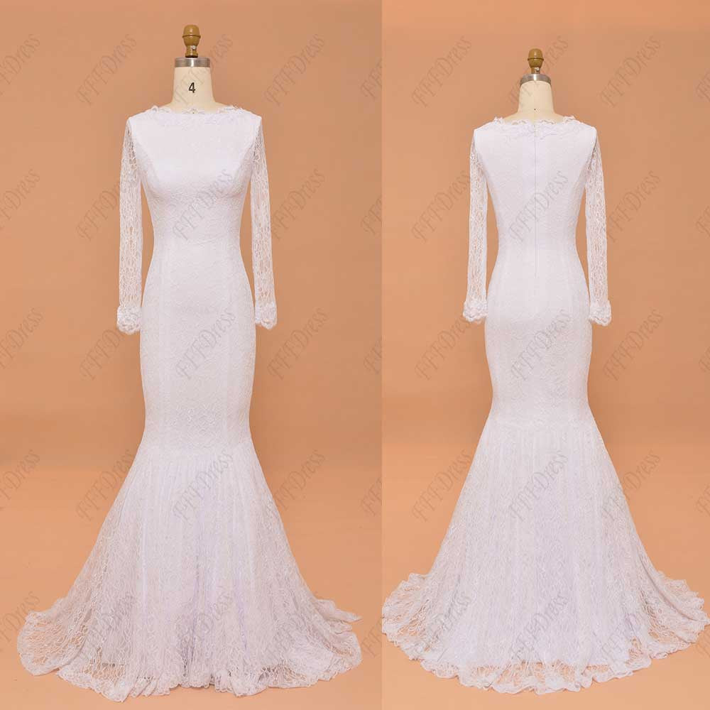 Mermaid modest lace white prom dresses with long sleeves