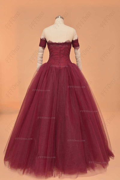 Off the shoulder burgundy ball gown prom dresses quinceanera dresses