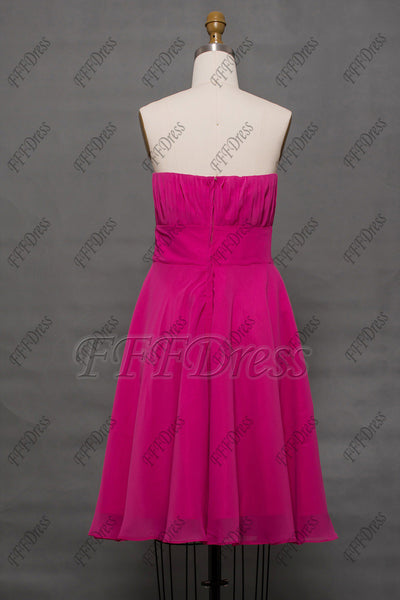 Hot pink short bridesmaid dress