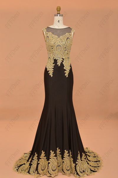 Black crystals mermaid prom dress with golden lace pageant dresses