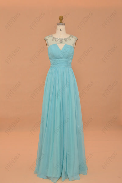 Sky blue crystal prom dresses long