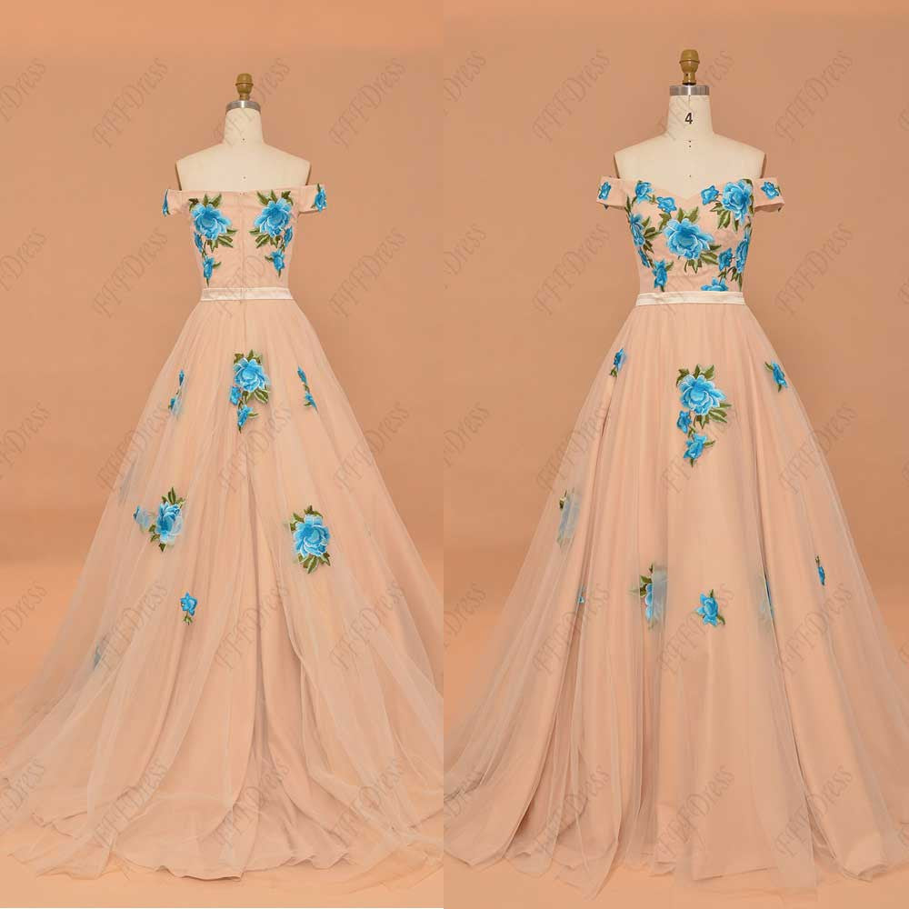 Ball gown prom dresses with embroidery champagne off the shoulder pageant dress