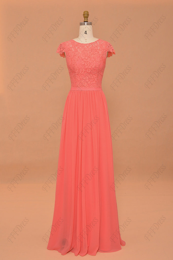 5ec5aa8d9fea ... Coral bridesmaid dresses cap sleeves modest prom dresses long ...