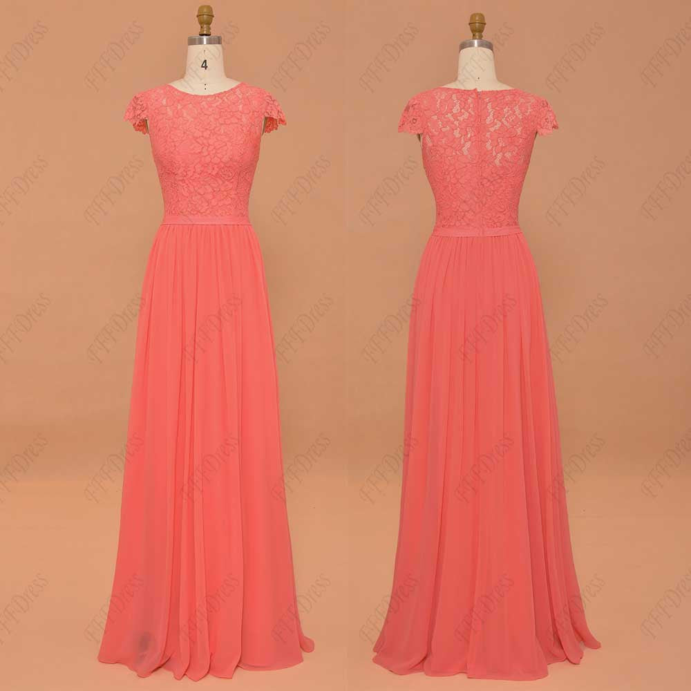 Coral bridesmaid dresses cap sleeves modest prom dresses long