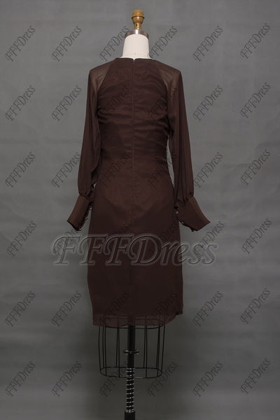 Modest brown mother of the bride dresses long sleeves knee length