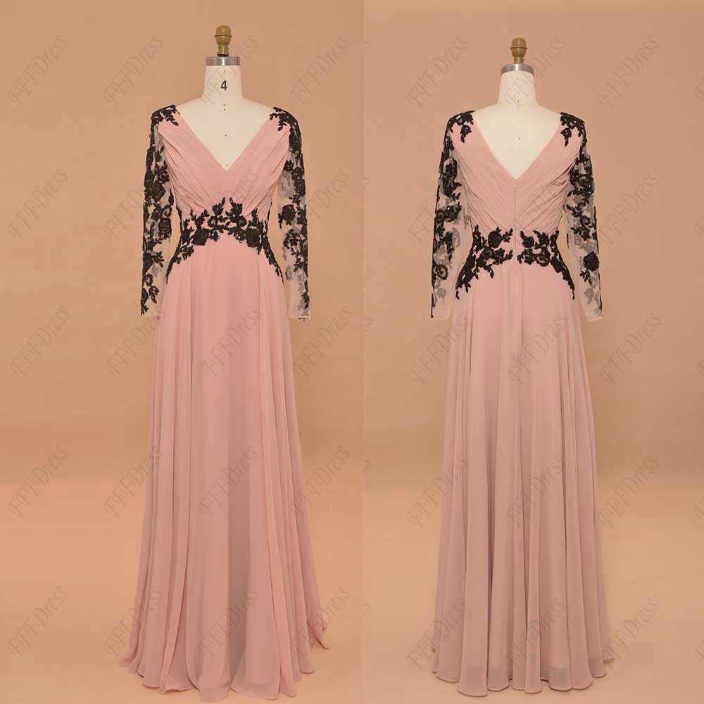 Blush modest prom dress long sleeves pageant dress with sparkly ...