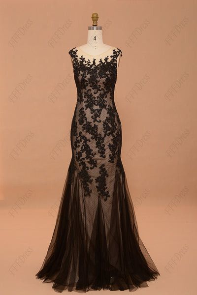 Mermaid black lace backless prom dresses cap sleeves