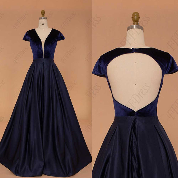 Navy blue backless ball gown prom dress long pageant dresses cap sleeve
