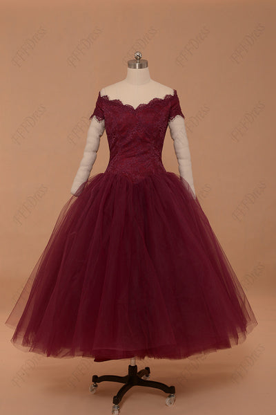 Off the shoulder Berry vintage prom dress ball gown homecoming dresses