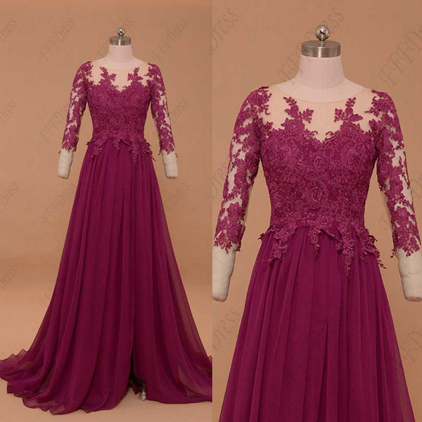 Modest magenta mother of the bride dress with sleeves plus size evening dress
