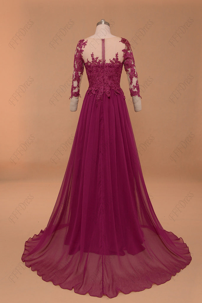 982dcfc46 ... Modest magenta mother of the bride dress with sleeves plus size evening  dress ...