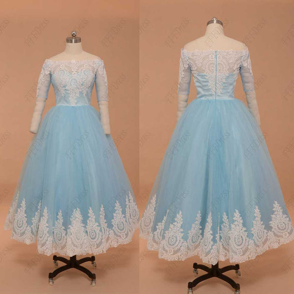 Light blue vintage prom dress tea length with sleeves homecoming dress