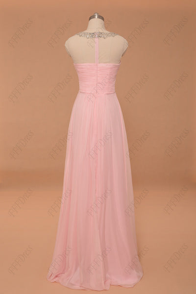 Light pink crystal prom dresses cap sleeves