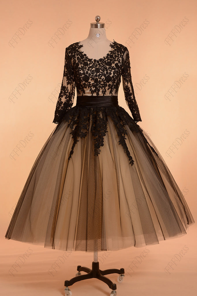 Black Vintage Prom Dresses with Sleeves ball gown formal dresses ...