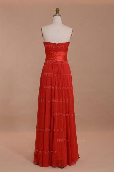 Strapless red bridesmaid dresses long
