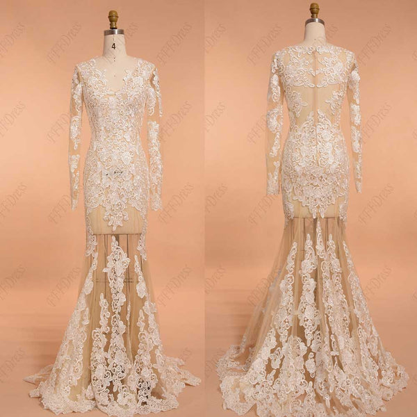 Mermaid see through white lace prom dresses long sleeves pageant dresses