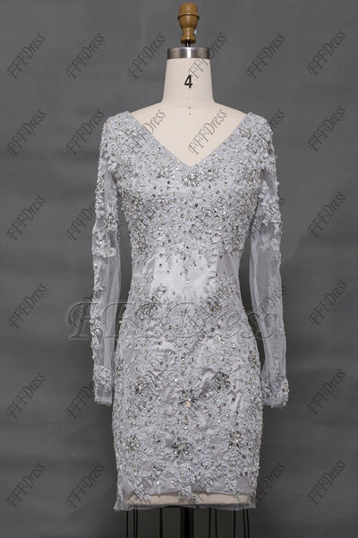 Grey Modest Sparkle white short prom dresses long sleeves