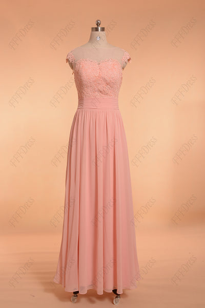 Blush pink long prom dresses cap sleeves