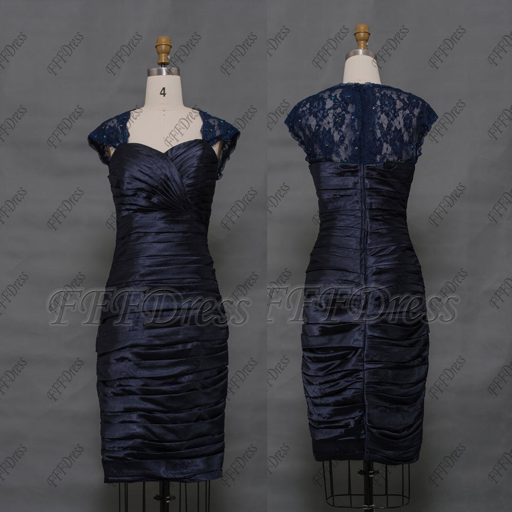 Navy blue mother of the bride dress knee length