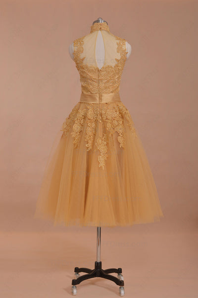 Modest vintage gold prom dresses tea length homecoming dresses